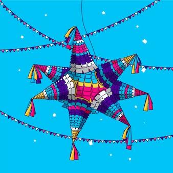 Plat ontwerp posada pinata festival met slingers