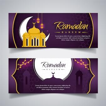 Plat ontwerp ramadan banners pack