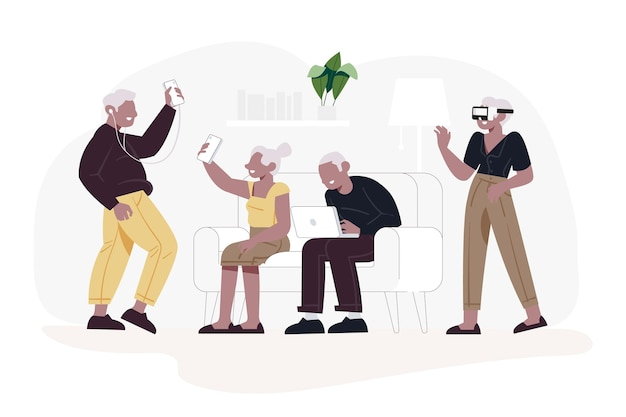 Plat ontwerp senioren die technologie gebruiken