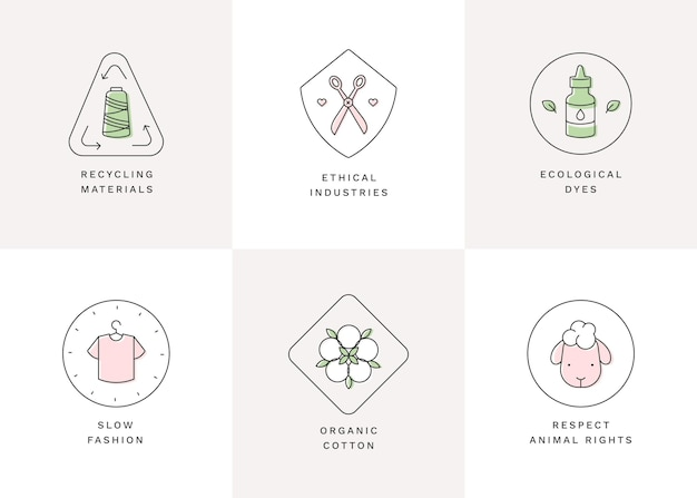 Plat ontwerp slow fashion badge pack