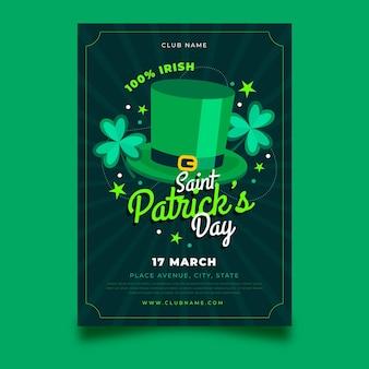 Plat ontwerp st. patrick's day flyer-sjabloon