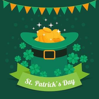 Plat ontwerp st. patrick's day-hoed met munten
