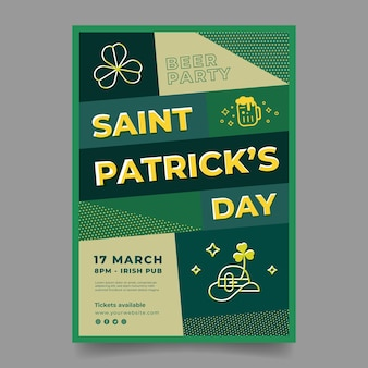 Plat ontwerp st. patrick's day poster sjabloon