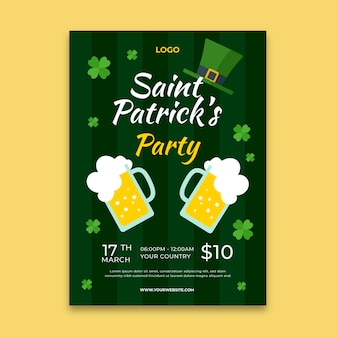Plat ontwerp st. patrick's day-poster