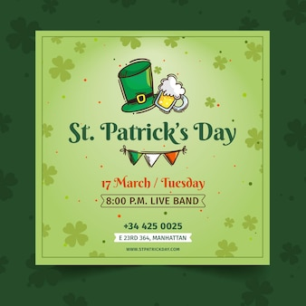 Plat ontwerp st. patrick's day squared flyer-sjabloon