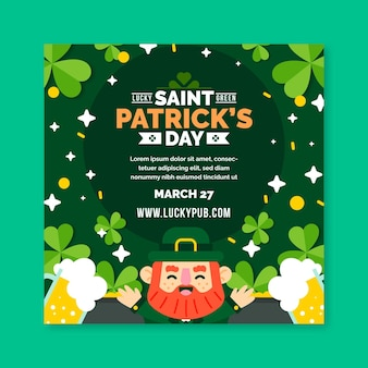 Plat ontwerp st. patrick's day squared flyer