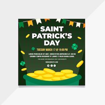Plat ontwerp st. patrick's day vierkante flyer-sjabloon