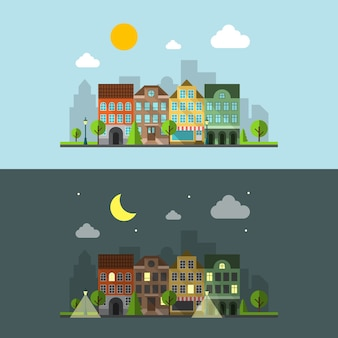 Plat ontwerp stedelijk landschap. nacht stad en dag stad en gebouw. vector illustratie
