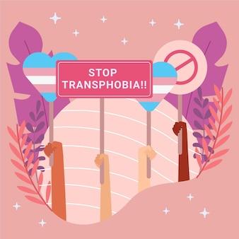 Plat ontwerp stop transfobie teken