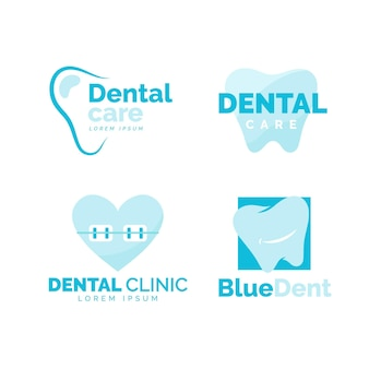Plat ontwerp tandheelkundige logo pack