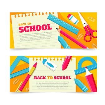 Plat ontwerp terug naar school banners collectie
