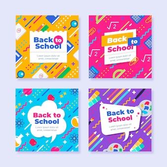 Plat ontwerp terug naar school instagram-berichten