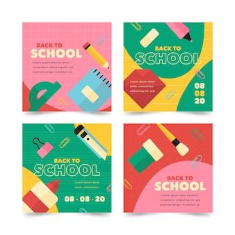 Plat ontwerp terug naar school instagram posts pack
