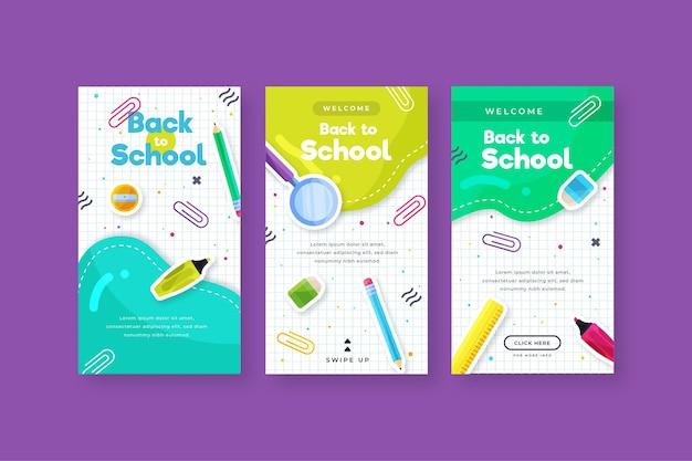 Plat ontwerp terug naar school instagram verhalencollectie
