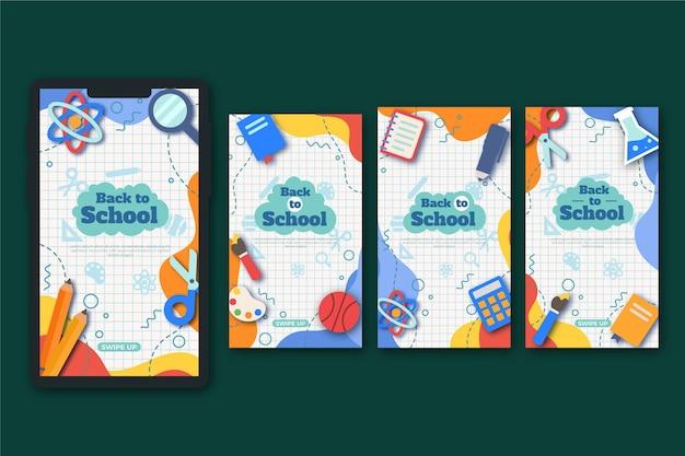 Plat ontwerp terug naar school instagramverhalen