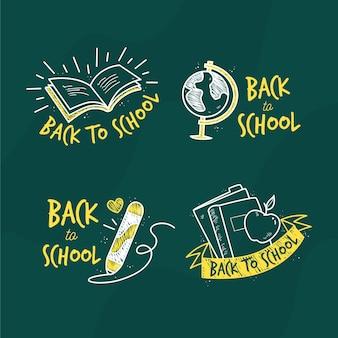 Plat ontwerp terug naar school labels-collectie