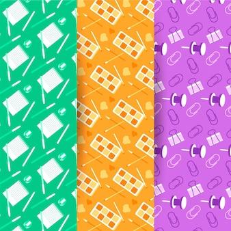 Plat ontwerp terug naar school patrooncollectie