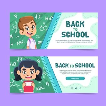 Plat ontwerp terug naar schoolbanners