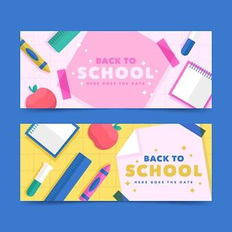 Plat ontwerp terug naar schoolbannerspak
