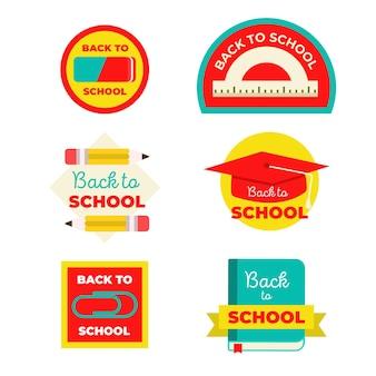 Plat ontwerp terug naar schoollabels