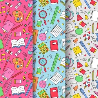 Plat ontwerp terug naar schoolpatronen