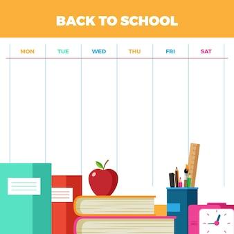Plat ontwerp terug naar schoolrooster