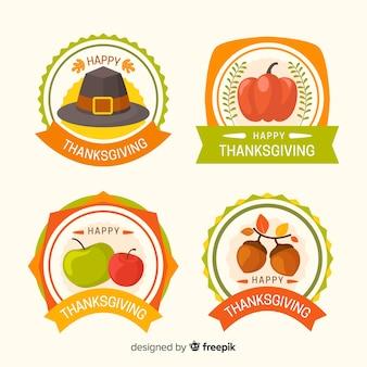 Plat ontwerp thanksgiving badgepakket