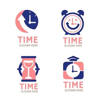 Plat ontwerp tijd logo's pack