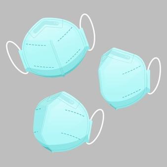Plat ontwerp van blauwe medische maskers in verschillende perspectieven
