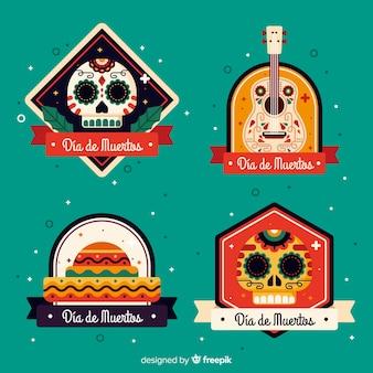 Plat ontwerp van dia de muertos labelcollectie