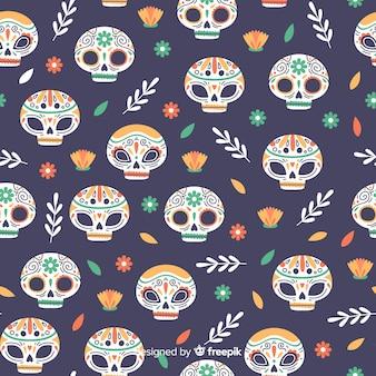 Plat ontwerp van dia de muertos-patroon