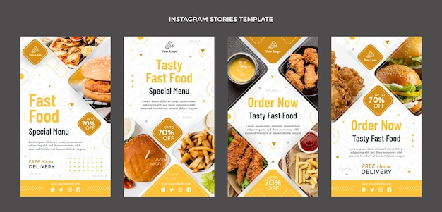 Plat ontwerp van instagram-verhalen over eten