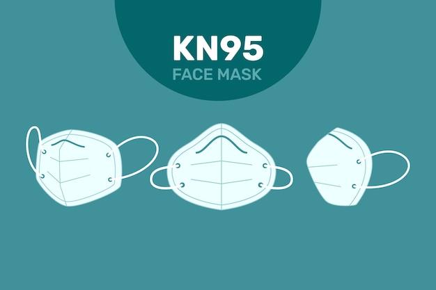 Plat ontwerp van kn95 gezichtsmasker in verschillende perspectieven