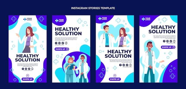 Plat ontwerp van medische ig-verhalen