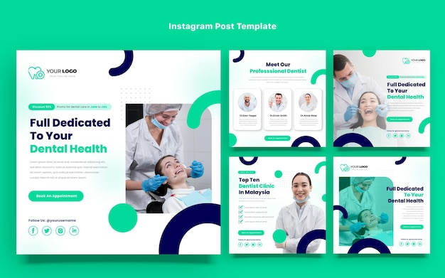 Plat ontwerp van medische instagram-berichten