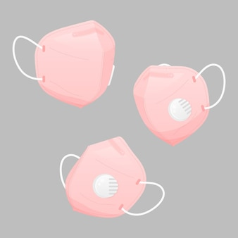 Plat ontwerp van medische maskers in verschillende perspectieven