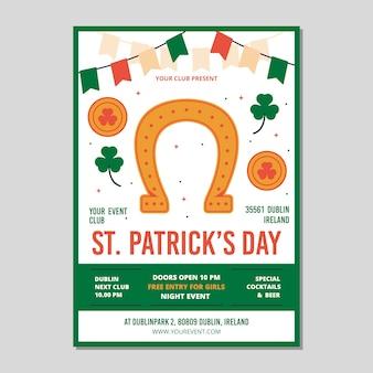 Plat ontwerp van st. patricks dag folder sjabloon thema