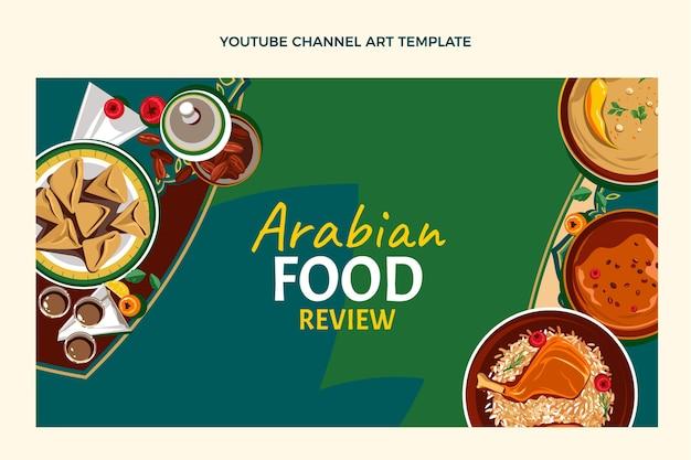 Plat ontwerp van youtube-kanaalafbeeldingen voor voedsel