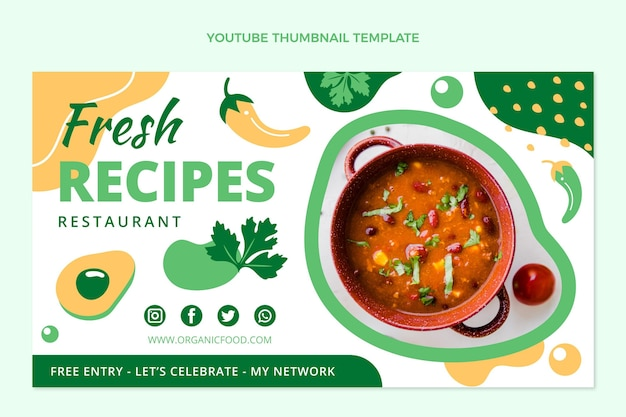 Plat ontwerp van youtube-miniatuur voor eten