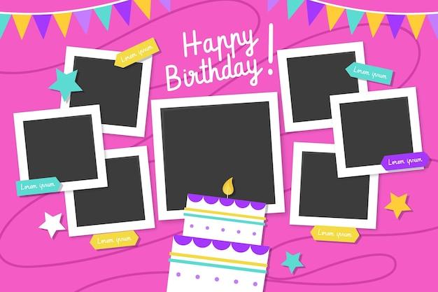 Plat ontwerp verjaardag collage frames pack
