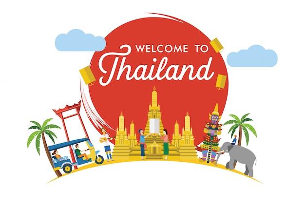 Plat ontwerp, welkom bij thailand banner, illustratie