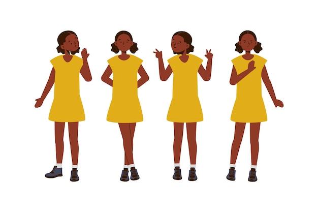 Plat ontwerp zwart meisje in verschillende poses
