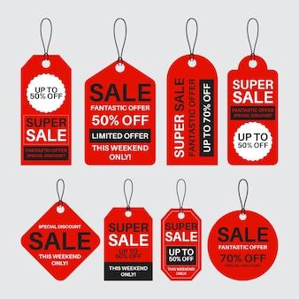 Plat ontwerppakket met verkooplabels met kortingen