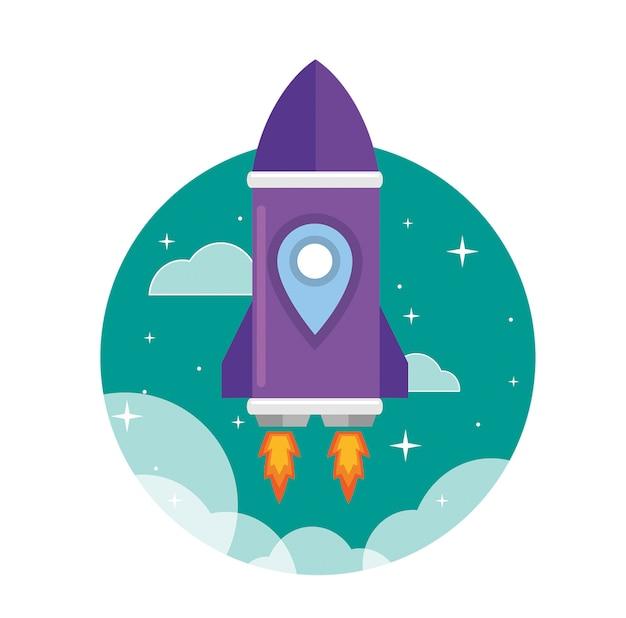 Plat paars raketschip gelanceerd naar de ruimte