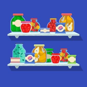 Plat pantry-pakket geïllustreerd