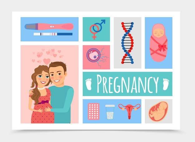 Plat pasgeboren kleurrijk met gelukkige zwangere vrouw en man illustratie