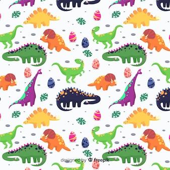 Plat patroon van dinosaurussen