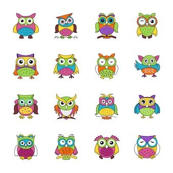 Plat pictogrammen set van uilen