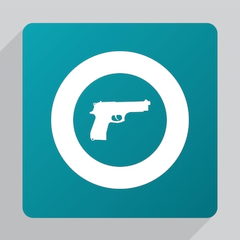 Plat pistoolpictogram, wit op groene achtergrond