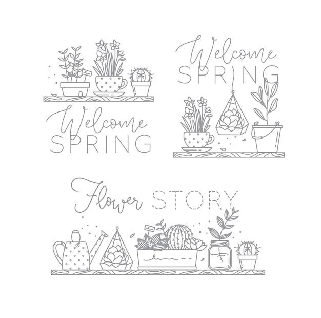 Plat plat pictogram planten in potten belettering welkom lente